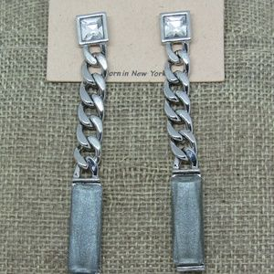 Crystal Chain Glitter Silver Gray Drop Earrings